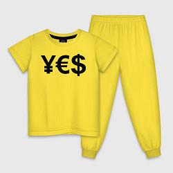 Пижама хлопковая детская YE$ цвета желтый — фото 1