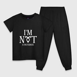 Пижама хлопковая детская I'm not a mundane цвета черный — фото 1
