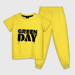 Пижама хлопковая детская Greeen Day: spray style цвета желтый — фото 1