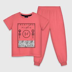 Пижама хлопковая детская 21 Pilots: Blurryface цвета коралловый — фото 1