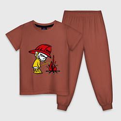 Пижама хлопковая детская Ручной пожарник цвета кирпичный — фото 1