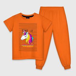 Пижама хлопковая детская Радуга Единорога цвета оранжевый — фото 1