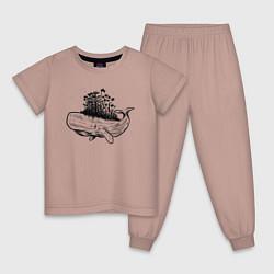 Пижама хлопковая детская Whale forest цвета пыльно-розовый — фото 1