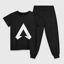 Пижама хлопковая детская Apex Symbol цвета черный — фото 1