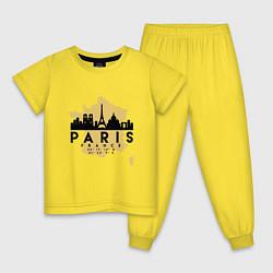 Пижама хлопковая детская Париж - Франция цвета желтый — фото 1