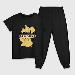 Пижама хлопковая детская Гамбург - Германия цвета черный — фото 1
