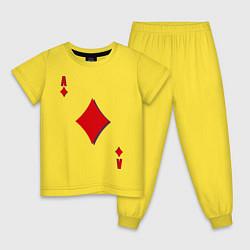 Пижама хлопковая детская Бубновый туз цвета желтый — фото 1