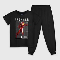 Пижама хлопковая детская Iron Man: Glitch Effect цвета черный — фото 1