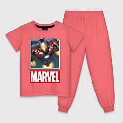 Пижама хлопковая детская Iron Man: Mark III цвета коралловый — фото 1