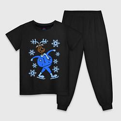 Пижама хлопковая детская Олень на коньках цвета черный — фото 1