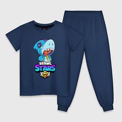 Пижама хлопковая детская BRAWL STARS LEON SHARK цвета тёмно-синий — фото 1