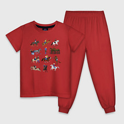 Пижама хлопковая детская Конный виды спорта цвета красный — фото 1
