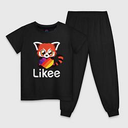 Пижама хлопковая детская Likee LIKE Video цвета черный — фото 1