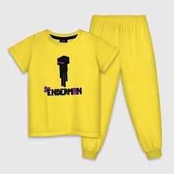 Пижама хлопковая детская Enderman цвета желтый — фото 1