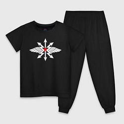 Пижама хлопковая детская Войска связи цвета черный — фото 1