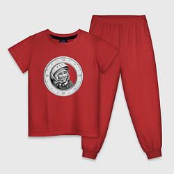 Пижама хлопковая детская Гагарин Восток 1 цвета красный — фото 1