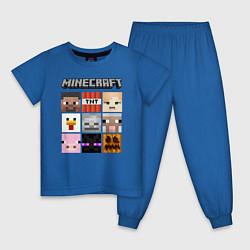 Пижама хлопковая детская MINECRAFT цвета синий — фото 1