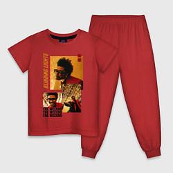 Пижама хлопковая детская BLINDING LIGHTS цвета красный — фото 1