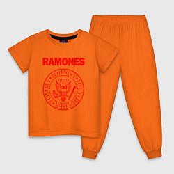 Пижама хлопковая детская RAMONES цвета оранжевый — фото 1
