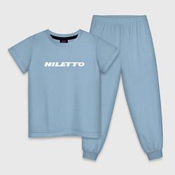 Пижама хлопковая детская NILETTO цвета мягкое небо — фото 1