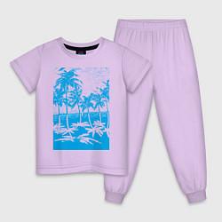 Пижама хлопковая детская Отдых в летом цвета лаванда — фото 1