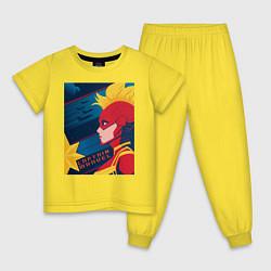 Пижама хлопковая детская Капитан Марвел Мстители цвета желтый — фото 1