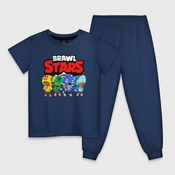 Пижама хлопковая детская BRAWL STARS цвета тёмно-синий — фото 1