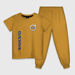 Пижама хлопковая детская VOLVO цвета горчичный — фото 1