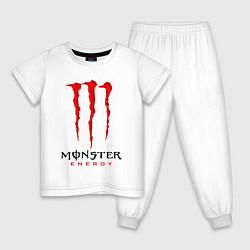 Пижама хлопковая детская MONSTER ENERGY цвета белый — фото 1