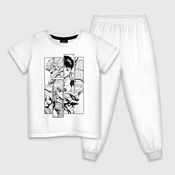 Пижама хлопковая детская Аска и Синдзи, Евангелион цвета белый — фото 1