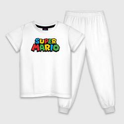 Пижама хлопковая детская Super mario цвета белый — фото 1