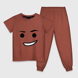 Пижама хлопковая детская Emmet цвета кирпичный — фото 1