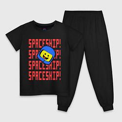 Пижама хлопковая детская Spaceship цвета черный — фото 1