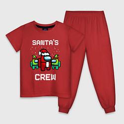 Пижама хлопковая детская AMONG US НОВОГОДНИЙ цвета красный — фото 1