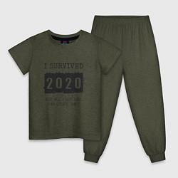Пижама хлопковая детская 2020 - я выжил цвета меланж-хаки — фото 1