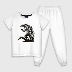 Пижама хлопковая детская Годзилла цвета белый — фото 1