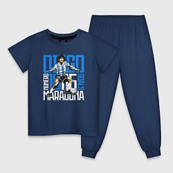 Пижама хлопковая детская 10 Diego Maradona цвета тёмно-синий — фото 1