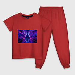 Пижама хлопковая детская Неоновый туннель цвета красный — фото 1