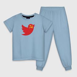 Пижама хлопковая детская Team Trump цвета мягкое небо — фото 1