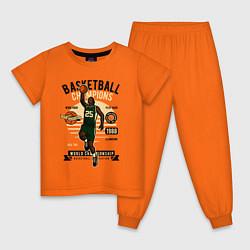 Пижама хлопковая детская Чемпионы по баскетболу цвета оранжевый — фото 1