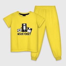 Пижама хлопковая детская Never Forget Эпоха VHS цвета желтый — фото 1