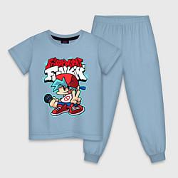 Пижама хлопковая детская Friday Night Funkin цвета мягкое небо — фото 1
