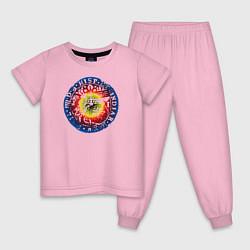 Пижама хлопковая детская Old coin цвета светло-розовый — фото 1
