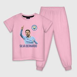 Пижама хлопковая детская Silva Bernardo Манчестер Сити цвета светло-розовый — фото 1