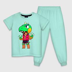 Пижама хлопковая детская Леон Динозавр цвета мятный — фото 1