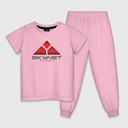 Пижама хлопковая детская Skynet цвета светло-розовый — фото 1