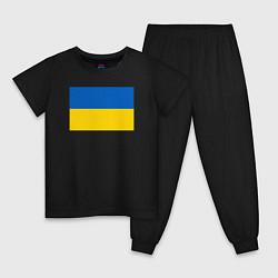 Пижама хлопковая детская Украина Флаг Украины цвета черный — фото 1