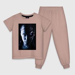 Пижама хлопковая детская Kristanna Loken цвета пыльно-розовый — фото 1