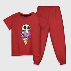 Пижама хлопковая детская Мороженое Череп на Хэллоуин цвета красный — фото 1
