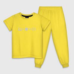 Пижама хлопковая детская Уравнение цвета желтый — фото 1